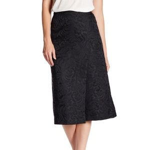 Theory Anneal Aster Jacquard Skirt Black Midi